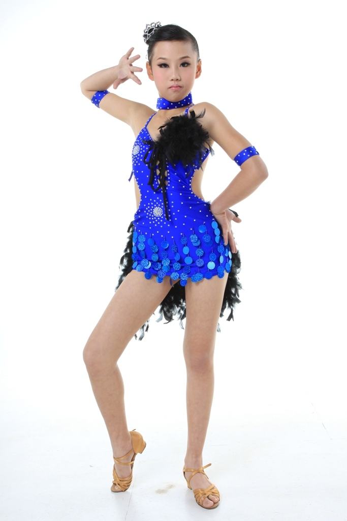4b389d690 Child Girls/Ladies Latin dance dress-Over all dress in 3sets with feather- Blue/Red/Black