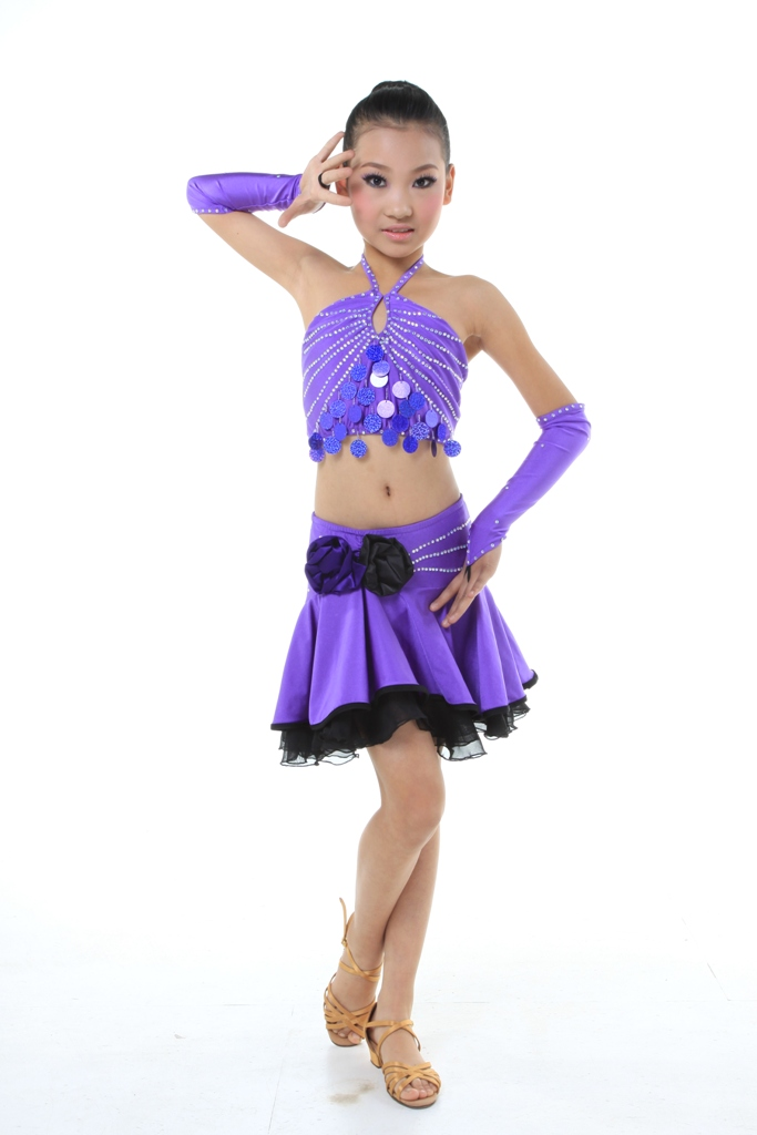 20d82537a Child Girls/Ladies Latin dance dress-3sets(shirt +  skirt)-Pink/Purple#RLD114452